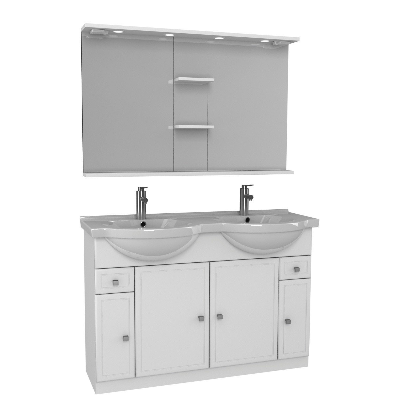 Meuble de salle de bains plus de 120 blanc galice leroy merlin - Meuble salle de bain 80 cm leroy merlin ...