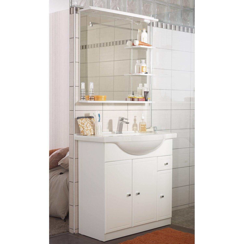 Meuble de salle de bains de 80 99 blanc galice leroy for Installation salle de bain leroy merlin