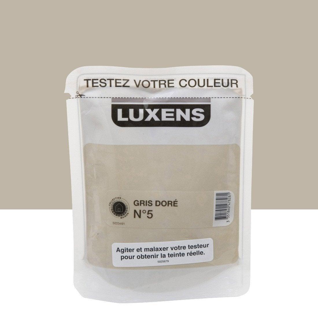 Testeur peinture couleurs int rieures satin luxens gris dor n 5 l leroy merlin for Peinture beige leroy merlin