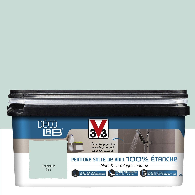 Peinture d colab 100 tanche v33 bleu embrun 2 l for Peinture pour carrelage cuisine leroy merlin