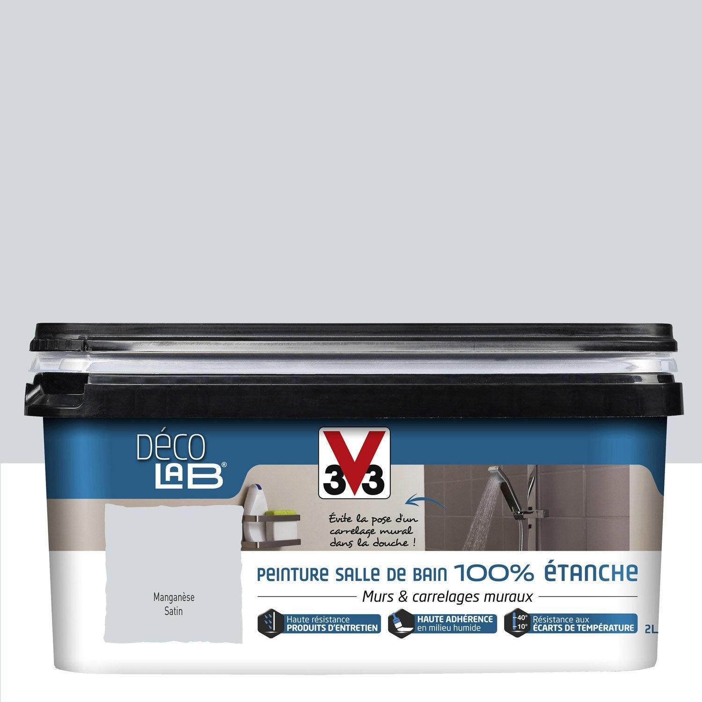 Peinture d colab 100 tanche v33 gris mangan se 2 l for Peinture carrelage douche leroy merlin