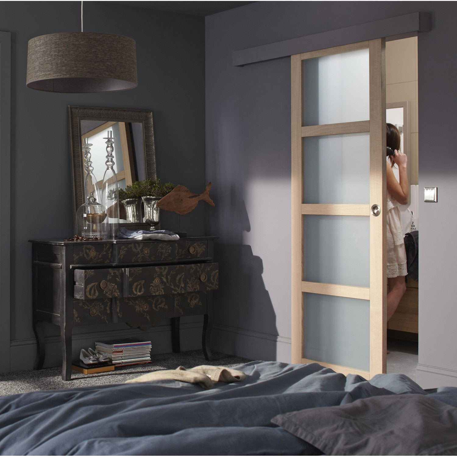 ensemble porte coulissante nova h tre avec le rail jazz 2 en aluminium leroy merlin. Black Bedroom Furniture Sets. Home Design Ideas