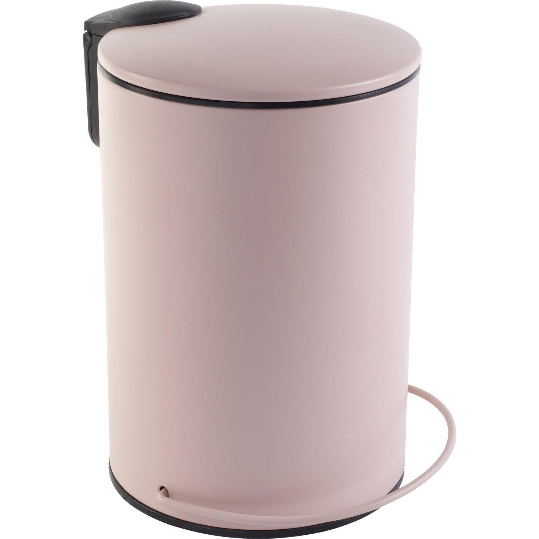 Poubelle de salle de bains 3 l rose blush 5 sensea ic ne for Poubelle salle de bain leroy merlin