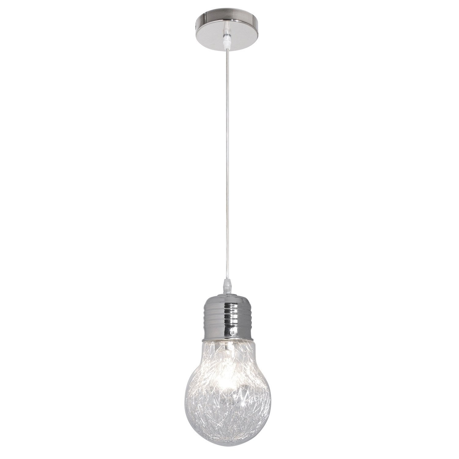 Suspension design ampoule filament verre transparent 1 x for Ampoule suspension luminaire