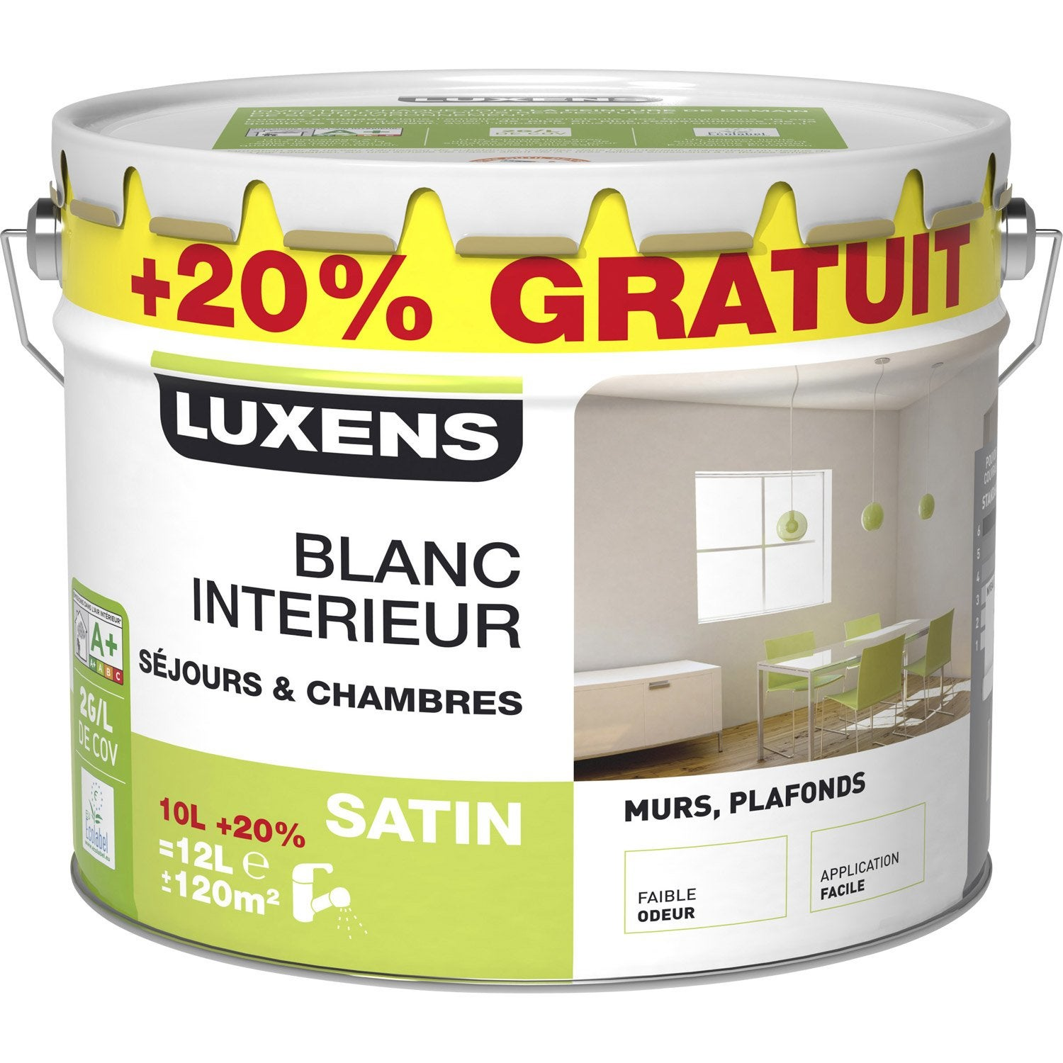 peinture blanc int rieur mur et plafond luxens 10l 20. Black Bedroom Furniture Sets. Home Design Ideas