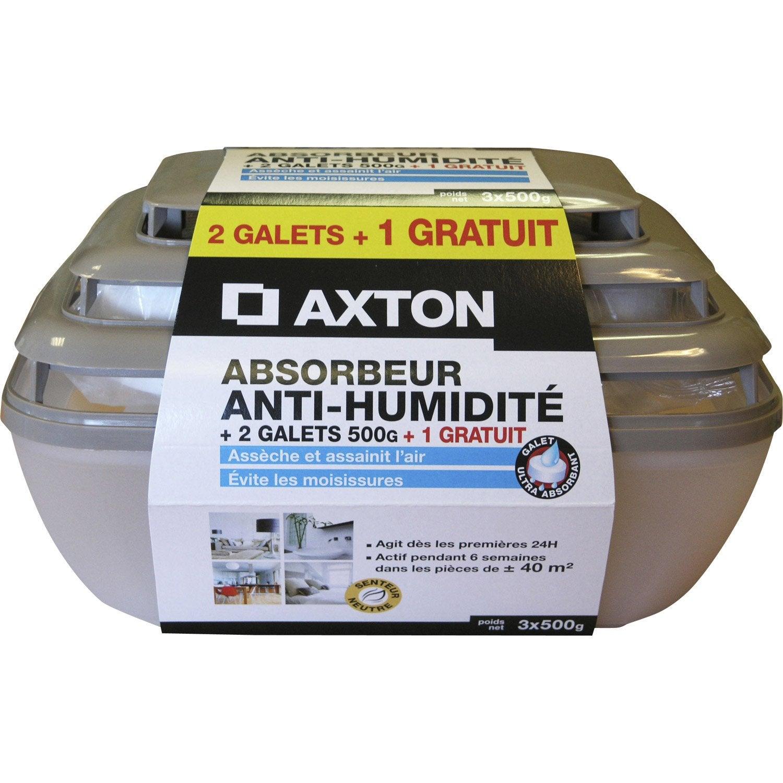 absorbeur d 39 humidit lot de 3 recharges galet axton leroy merlin. Black Bedroom Furniture Sets. Home Design Ideas