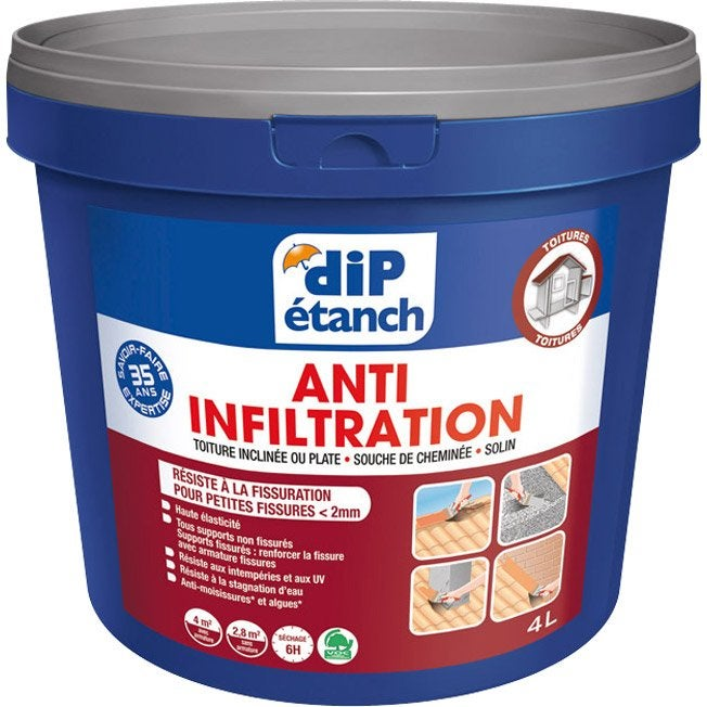 Rev tement d 39 tanch it anti infiltration dip ardoise 4l leroy merlin - Dip etanch anti infiltration ...