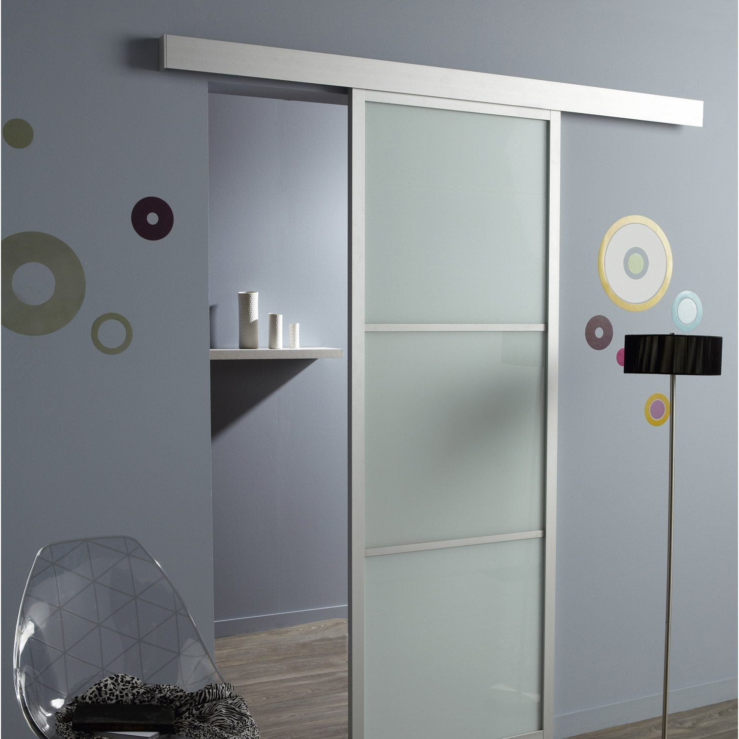 Rail coulissant pour porte en verre for Decoration porte aluminium