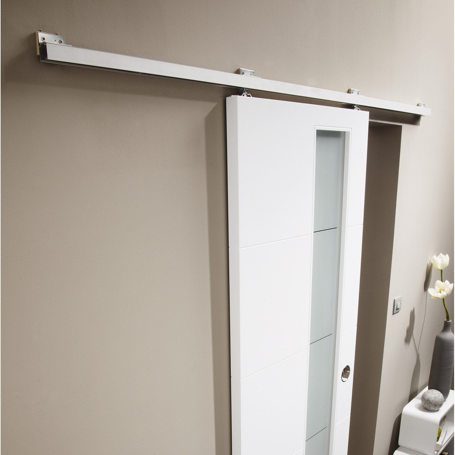 Rail coulissant turbo 2 pour porte de largeur 93 cm for Porte scorrevoli esterno muro leroy merlin