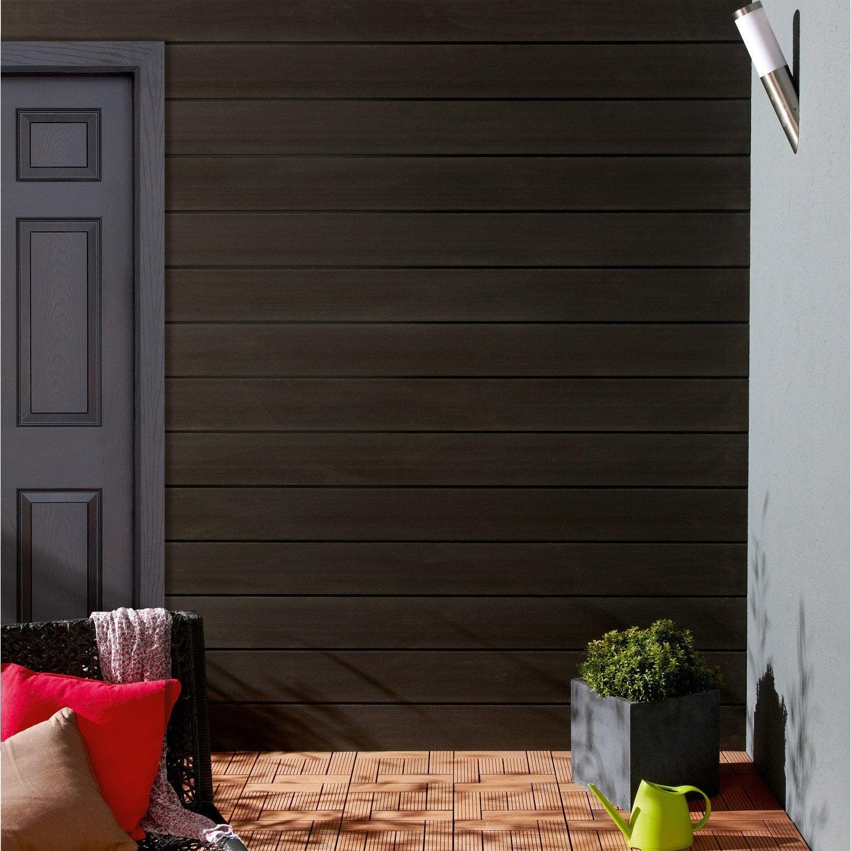 clin pour bardage ebony xyltech 2 7 m leroy merlin. Black Bedroom Furniture Sets. Home Design Ideas