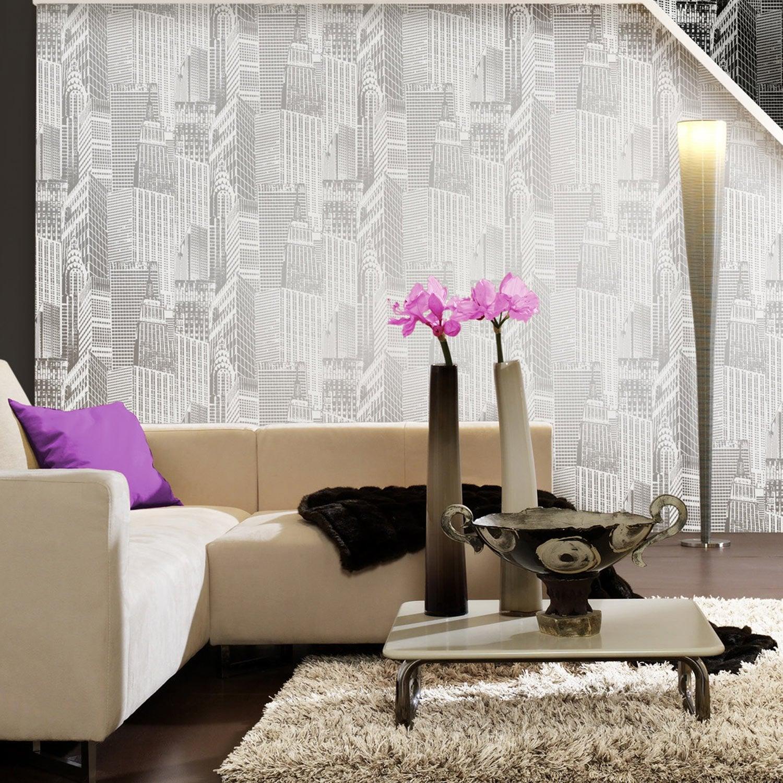 Papier peint vinyle expans sur intiss city blanc larg for Decoller papier peint vinyl