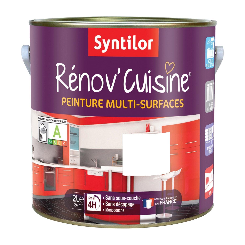 Peinture r nov 39 cuisine syntilor blanc 2 l leroy merlin for Peinture v cuisine