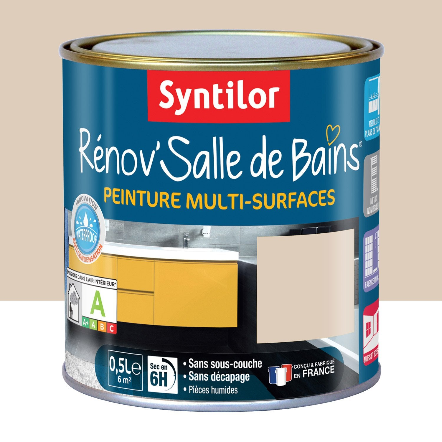 peinture r nov 39 salle de bains syntilor beige poudr 0 5 l leroy merlin. Black Bedroom Furniture Sets. Home Design Ideas