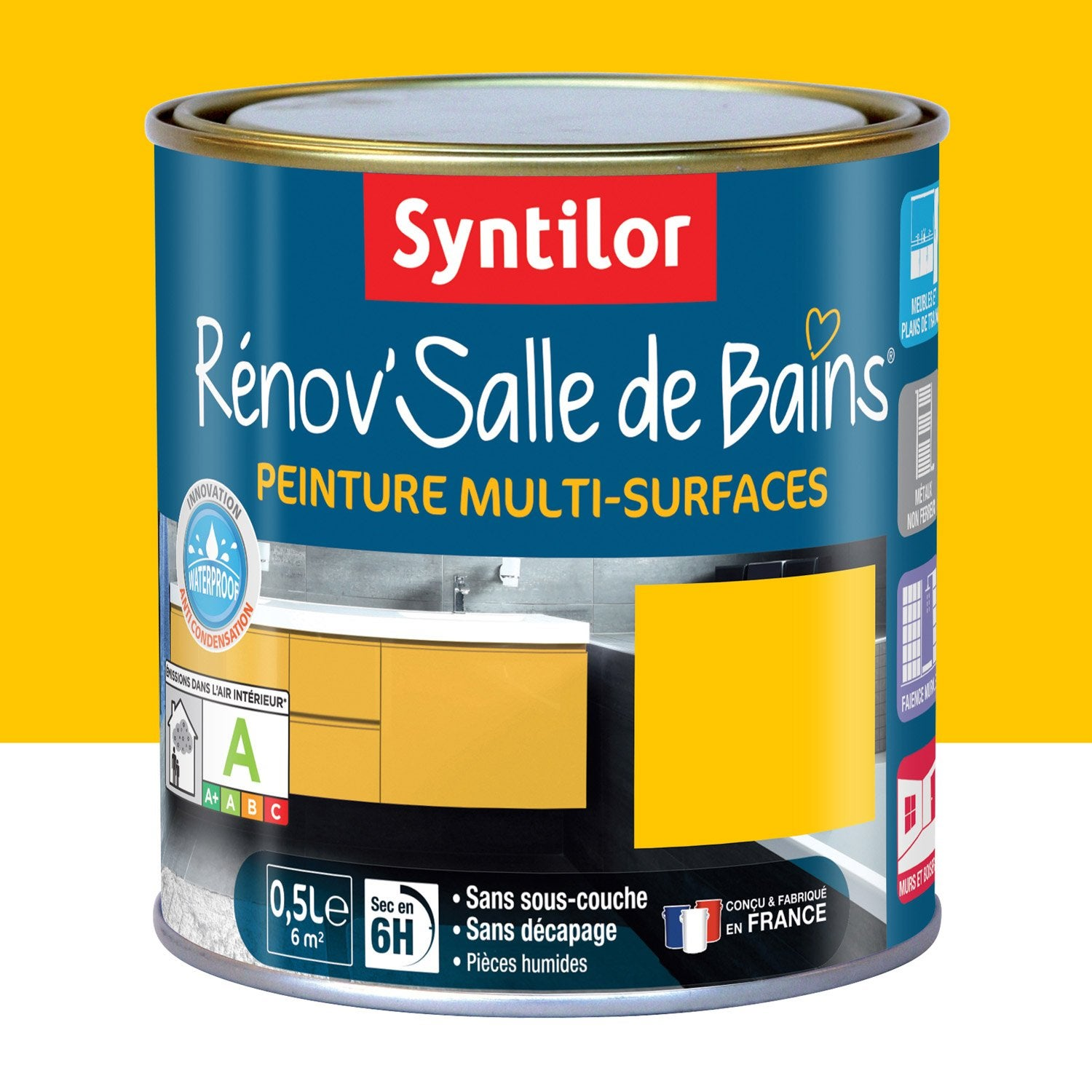 peinture r nov 39 salle de bains syntilor jaune tonic 0 5 l leroy merlin. Black Bedroom Furniture Sets. Home Design Ideas