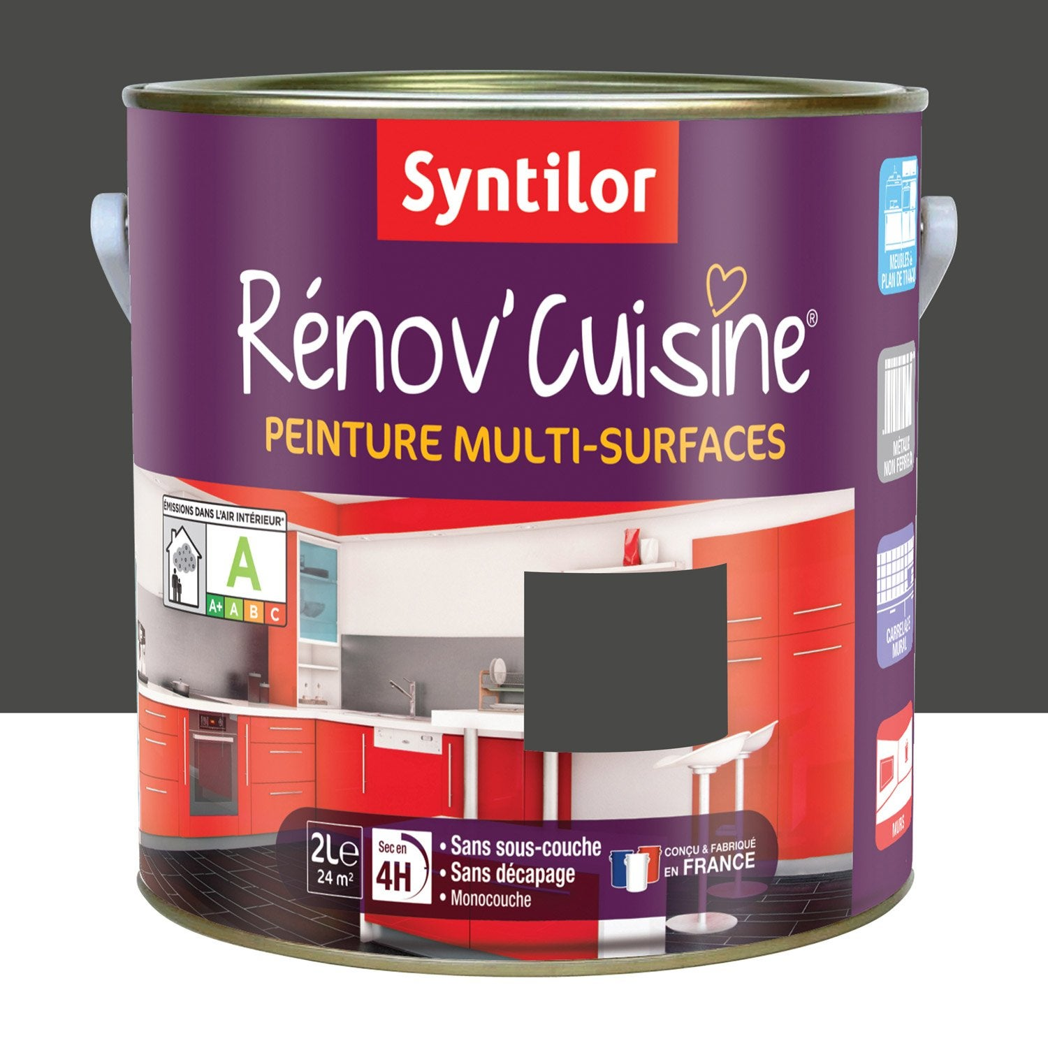 peinture r nov 39 cuisine syntilor gris pavot 2l leroy merlin. Black Bedroom Furniture Sets. Home Design Ideas
