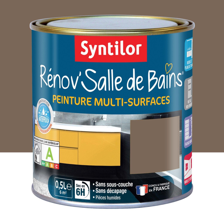 Peinture r nov 39 salle de bains syntilor brun velout 0 5 l leroy merlin for Peinture plafond salle de bain