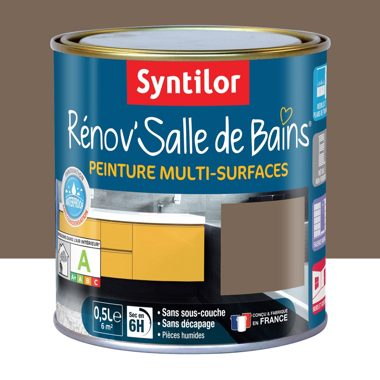 Peinture r nov 39 salle de bains syntilor brun velout 0 5 l leroy merlin for Peinture salle de bain leroy merlin