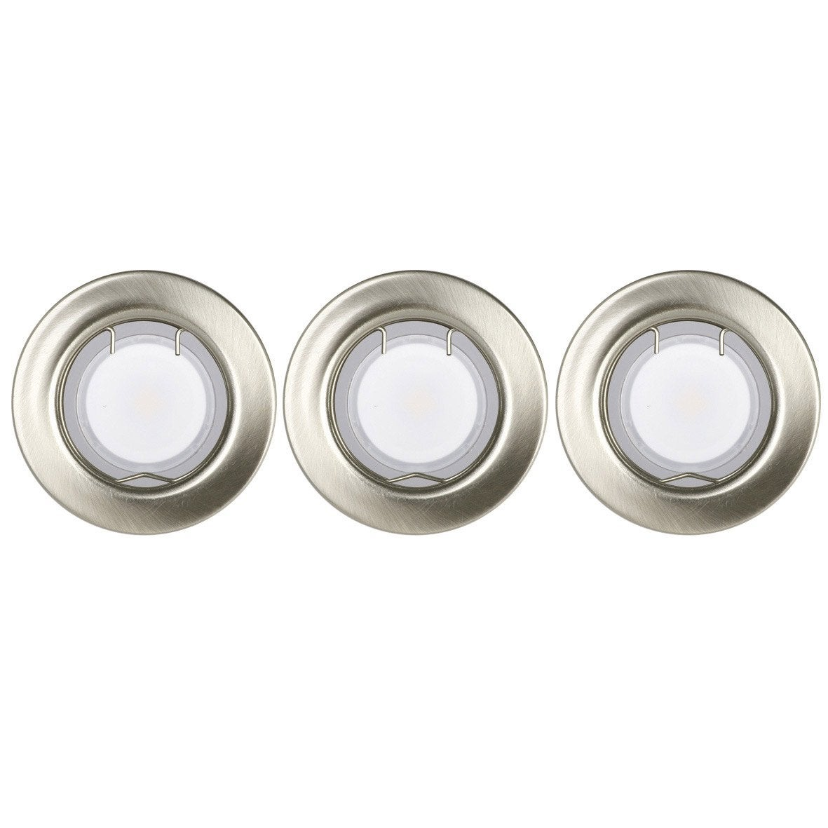 Kit 3 spots encastrer bang fixe led gu10 aluminium leroy merlin - Led escalier leroy merlin ...