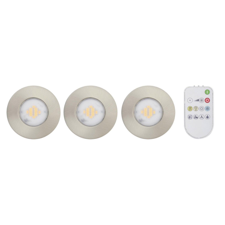 Kit 3 spots encastrer salle de bains iwhite fixe led - Spot led exterieur leroy merlin ...
