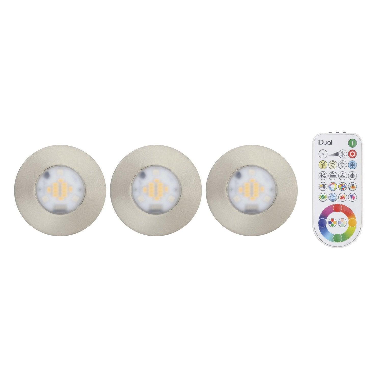 Kit 3 spots encastrer salle de bains idual fixe led led - Spot led exterieur leroy merlin ...
