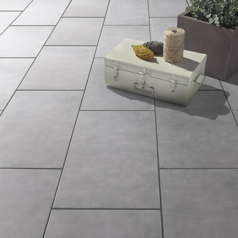 Carrelage sol gris effet b ton kiosque x cm for Carrelage gris beton