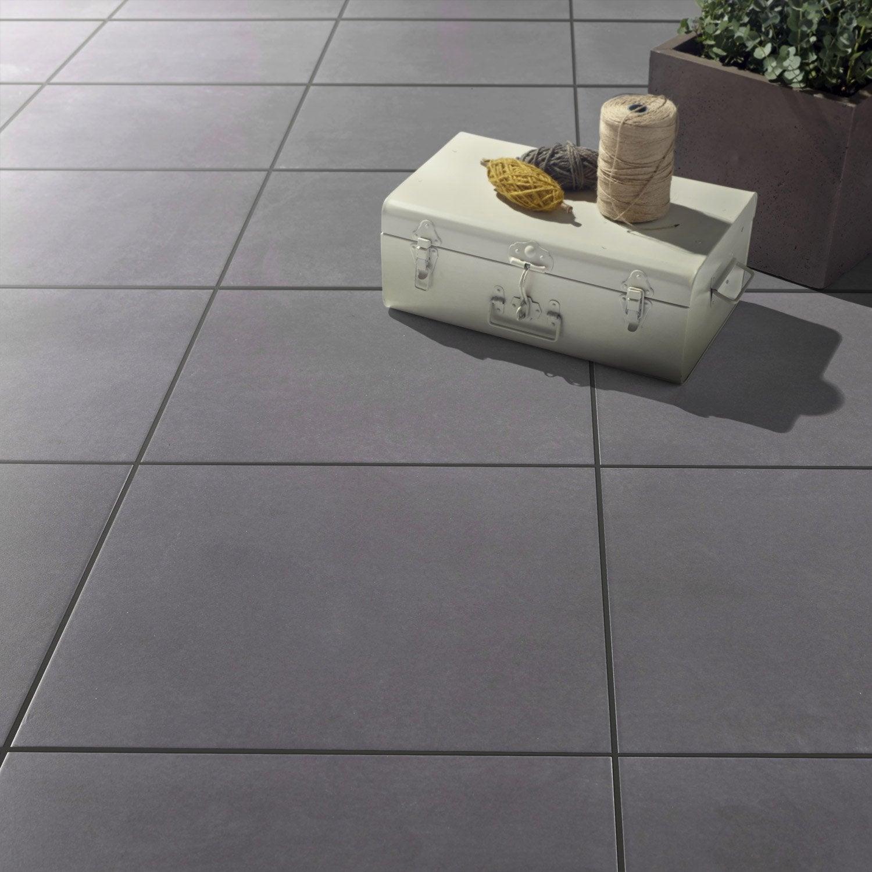 Carrelage sol anthracite effet b ton jet x cm for Carrelage pour veranda gris anthracite