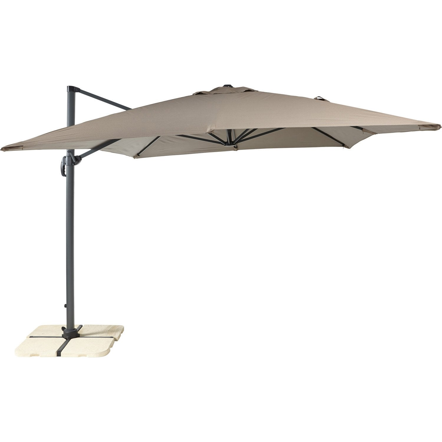 parasol d port hera taupe rectangulaire x cm leroy merlin. Black Bedroom Furniture Sets. Home Design Ideas