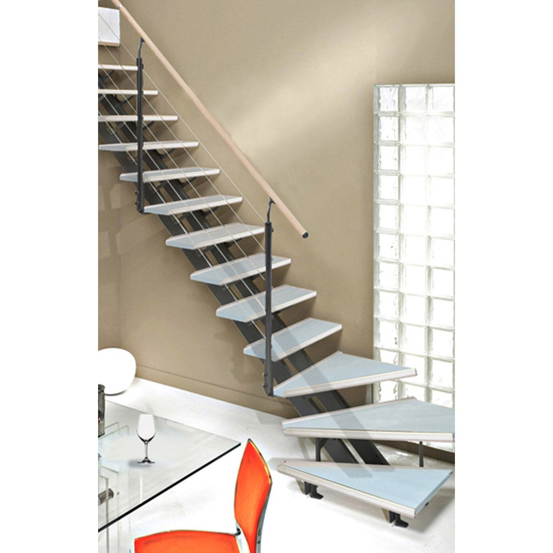 Escalier quart tournant escatwin structure aluminium marche verre leroy merlin - Bloc marche leroy merlin ...