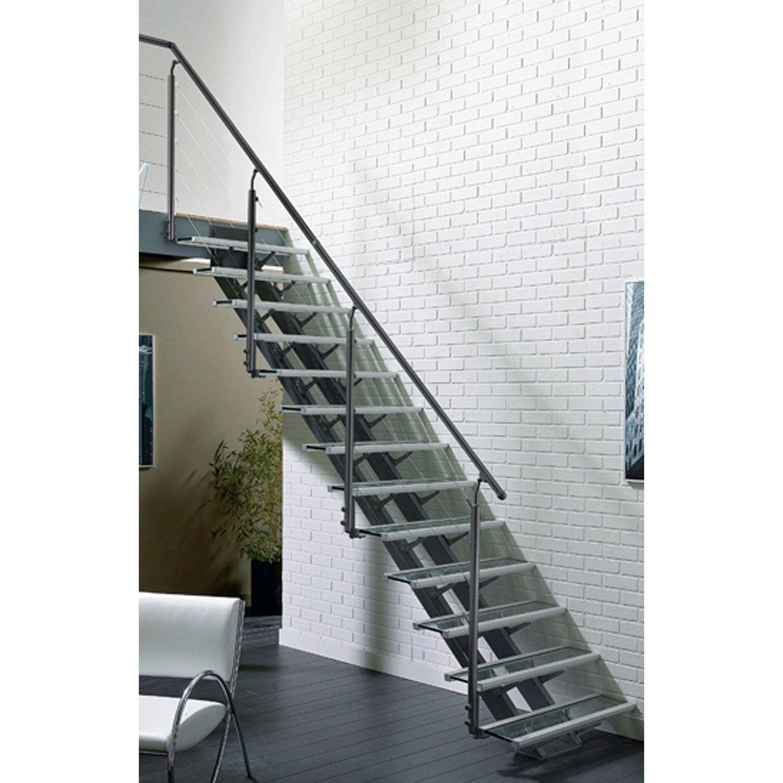 Escalier droit escatwin marches verre structure aluminium gris leroy merlin - Eclairage escalier leroy merlin ...