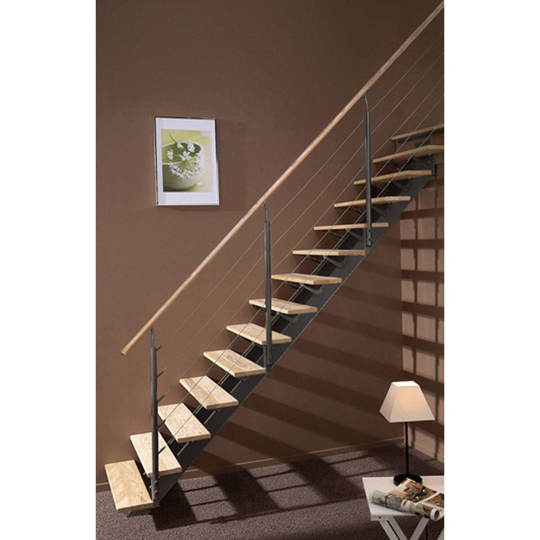 Escalier droit escatwin structure aluminium marche bois leroy merlin - Peinture pour escalier bois leroy merlin ...