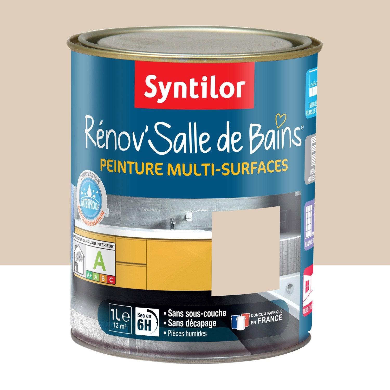 Peinture r nov 39 salle de bains syntilor beige poudr 1 l leroy merlin for Peinture beige leroy merlin
