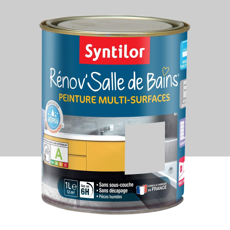 Peinture r nov 39 salle de bains syntilor gris galet 1 l for Galet salle de bain leroy merlin