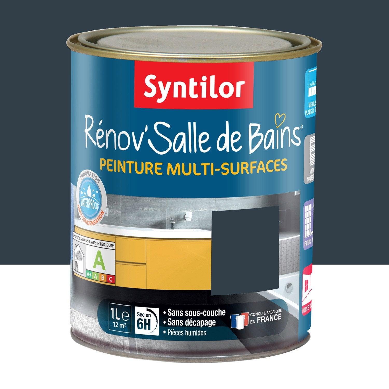 Peinture r nov 39 salle de bains syntilor gris granit 1 l for Peinture hydrofuge salle de bain leroy merlin