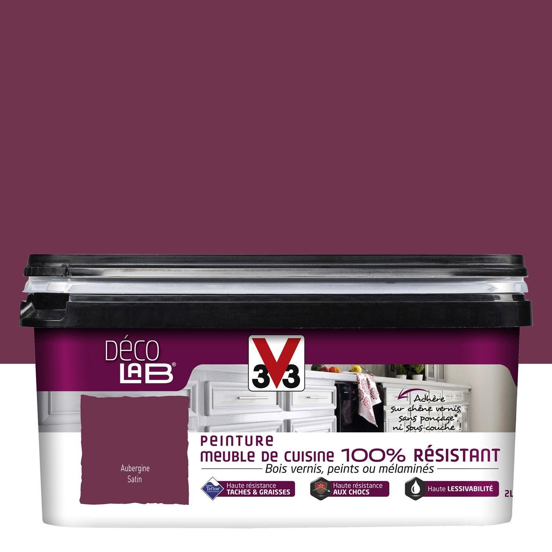 Peinture d colab meuble de cuisine 100 r sist v33 violet aubergine 2 l leroy merlin for Peinture violet aubergine