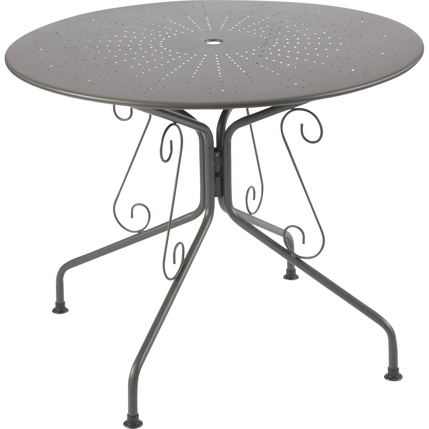 Table de jardin romantique ronde gris graphithe 4 personnes leroy merlin Table salon de jardin ronde