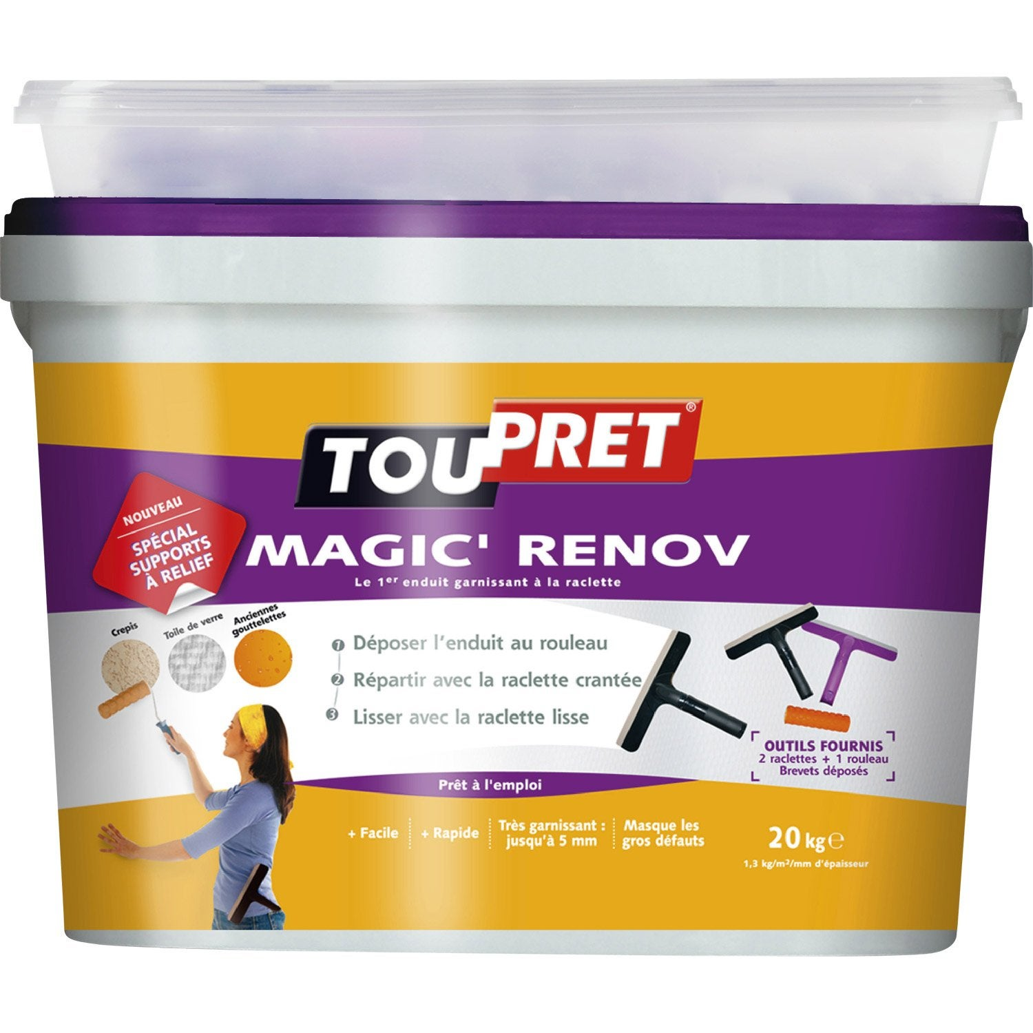 Enduit de lissage p te magic r nov toupret 20 kg leroy for Video enduit de lissage