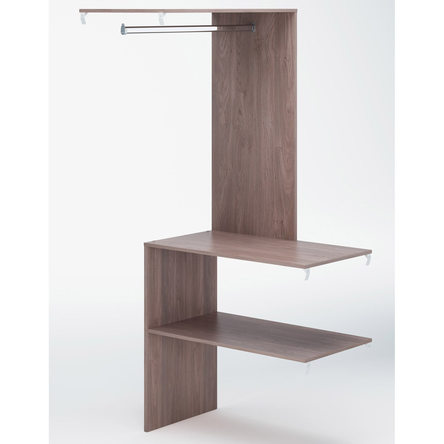 Module d 39 angle avec penderie spaceo dressing 91x193x50 cm ch ne naturel - Dressing angle leroy merlin ...