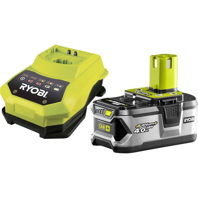 pack de 1 batterie chargeur ryobi one lithium 18v 4ah. Black Bedroom Furniture Sets. Home Design Ideas
