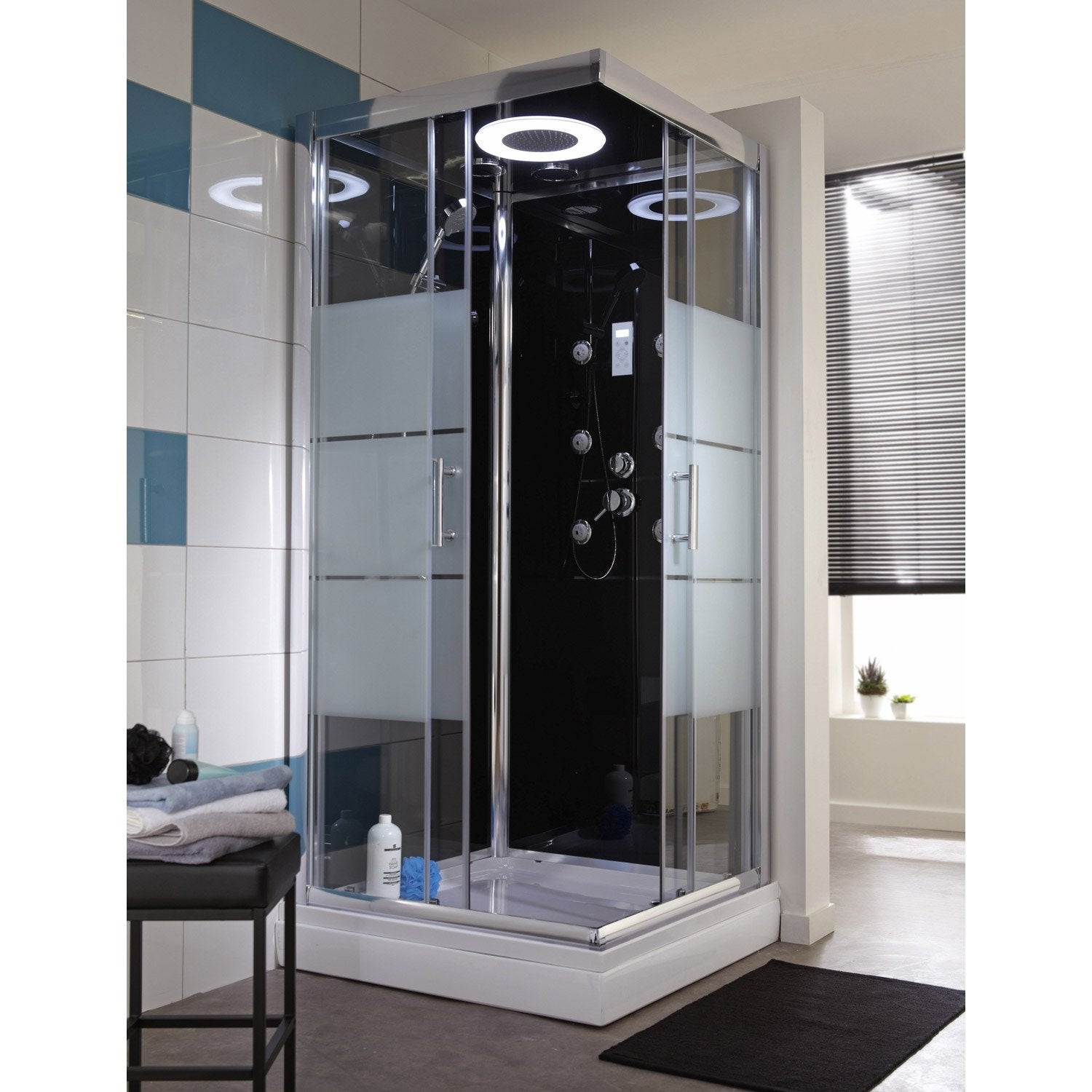 cabine de douche carr 80x80 cm optima2 noire leroy merlin. Black Bedroom Furniture Sets. Home Design Ideas