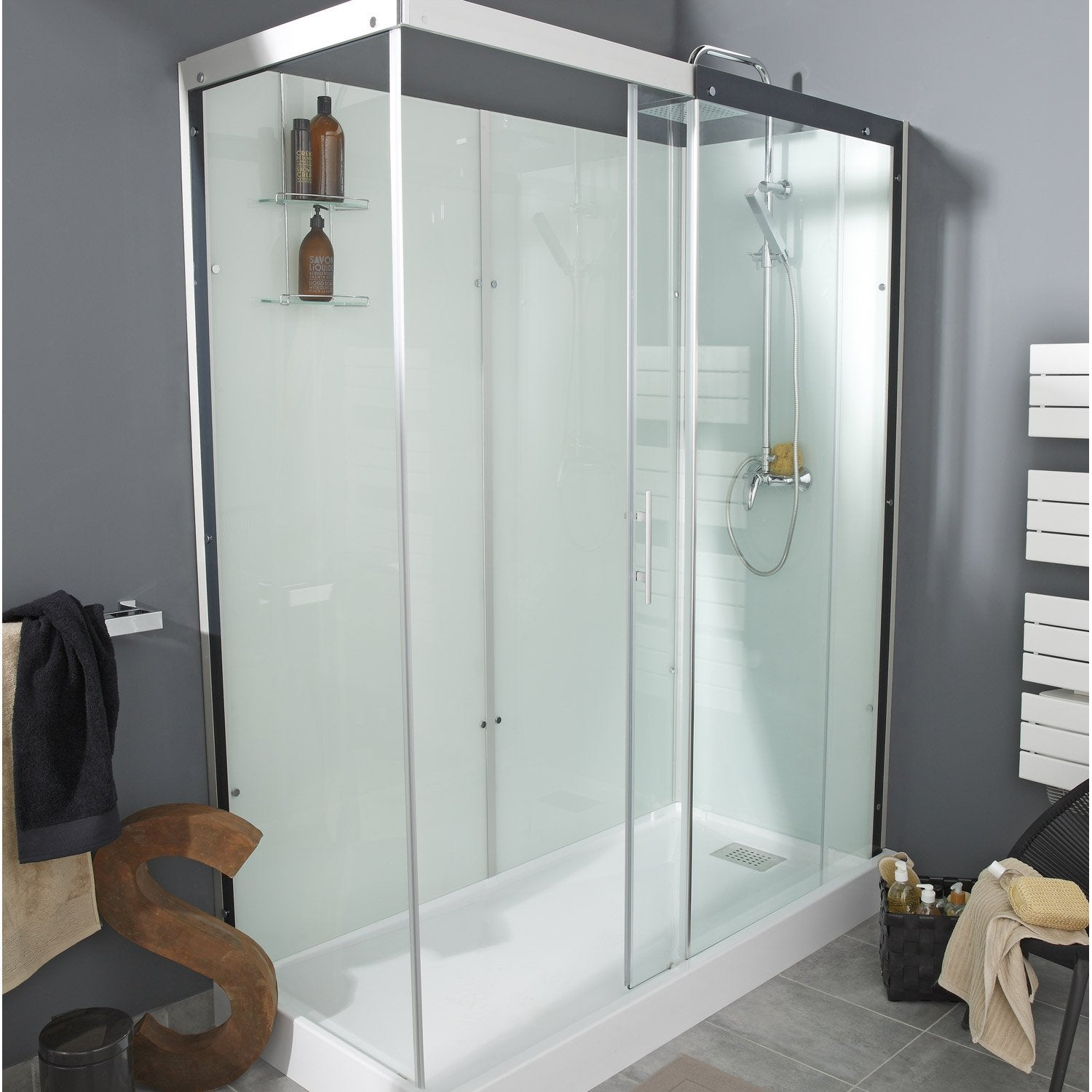 Cabine de douche rectangulaire 170x80 cm thalaglass 2 for Douche chez leroy merlin