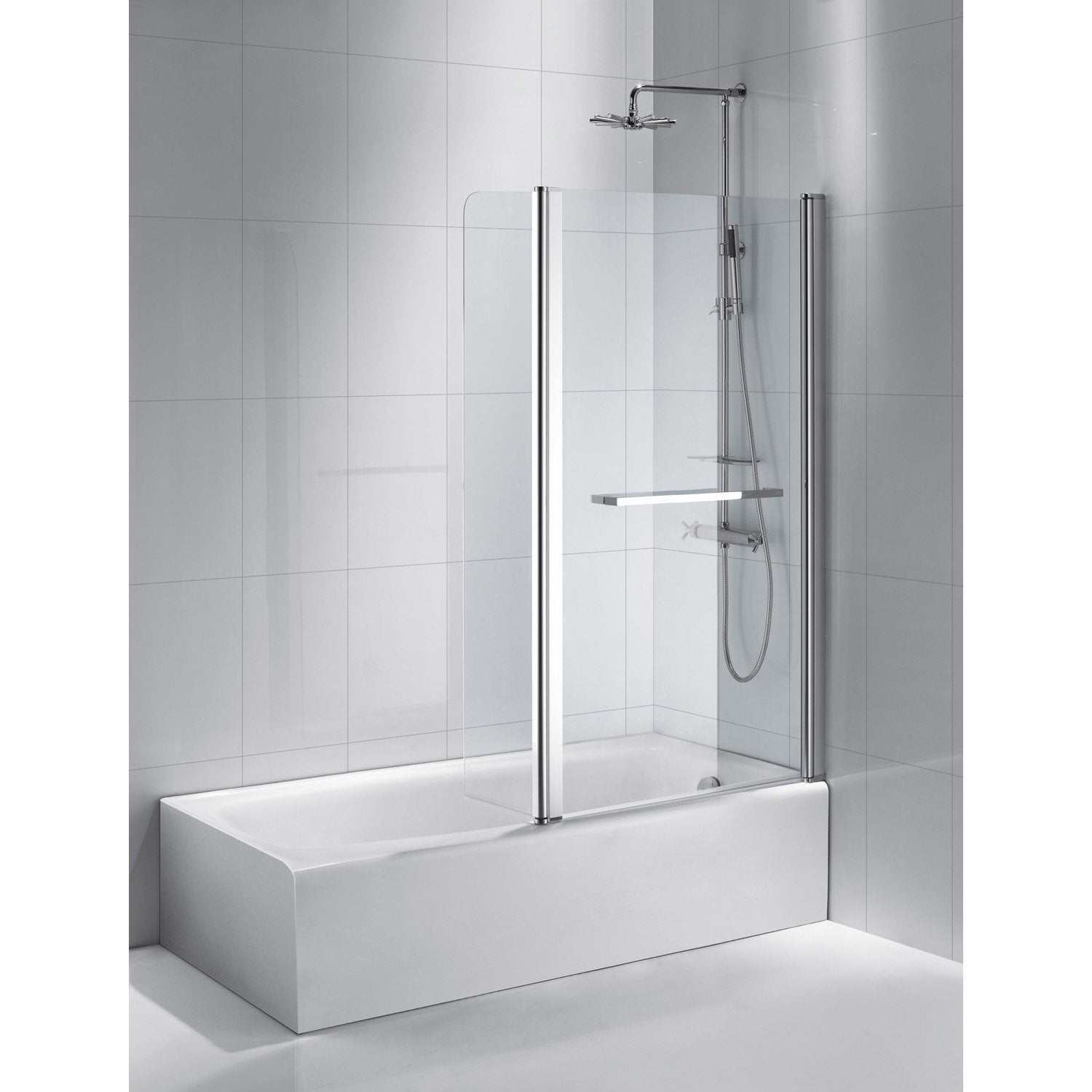 Pare baignoire 2 volets verre de s curit 6 mm transparent purity2 leroy merlin - Pare douche leroy merlin ...