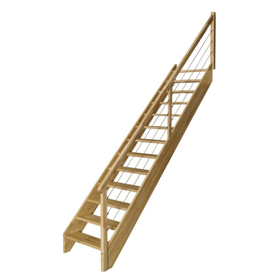 escalier droit urban c ble structure bois marche bois On escalier urban leroy merlin