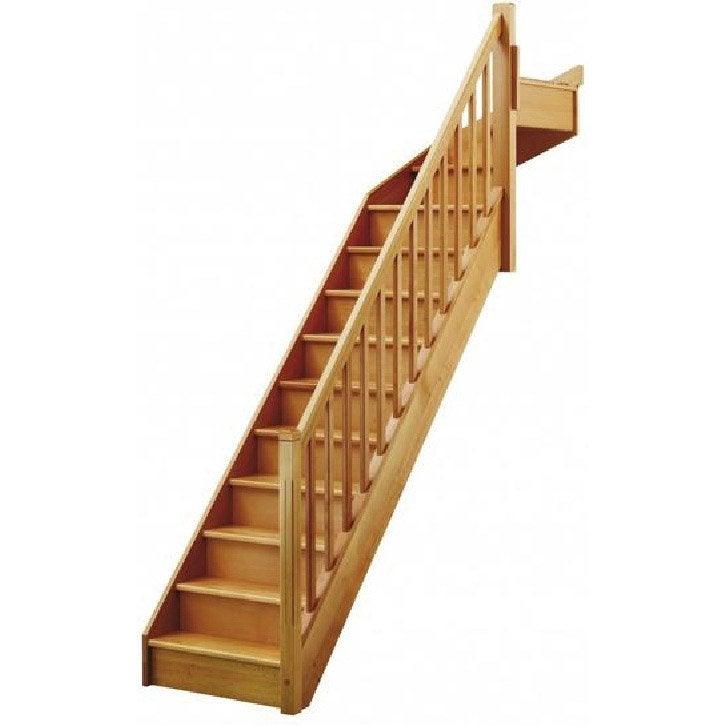 Escalier quart tournant haut droit soft classic structure bois marche bois - Echelle de meunier leroy merlin ...