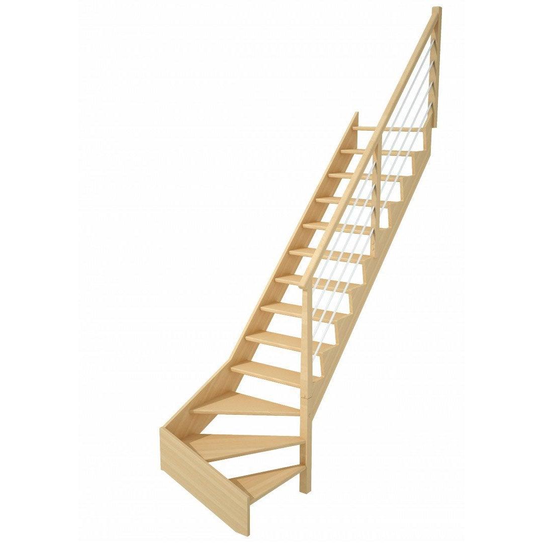 Escalier quart tournant bas droit Biaiz tube structure bois marche bois Leroy Merlin # Escalier Quart Tournant Bois