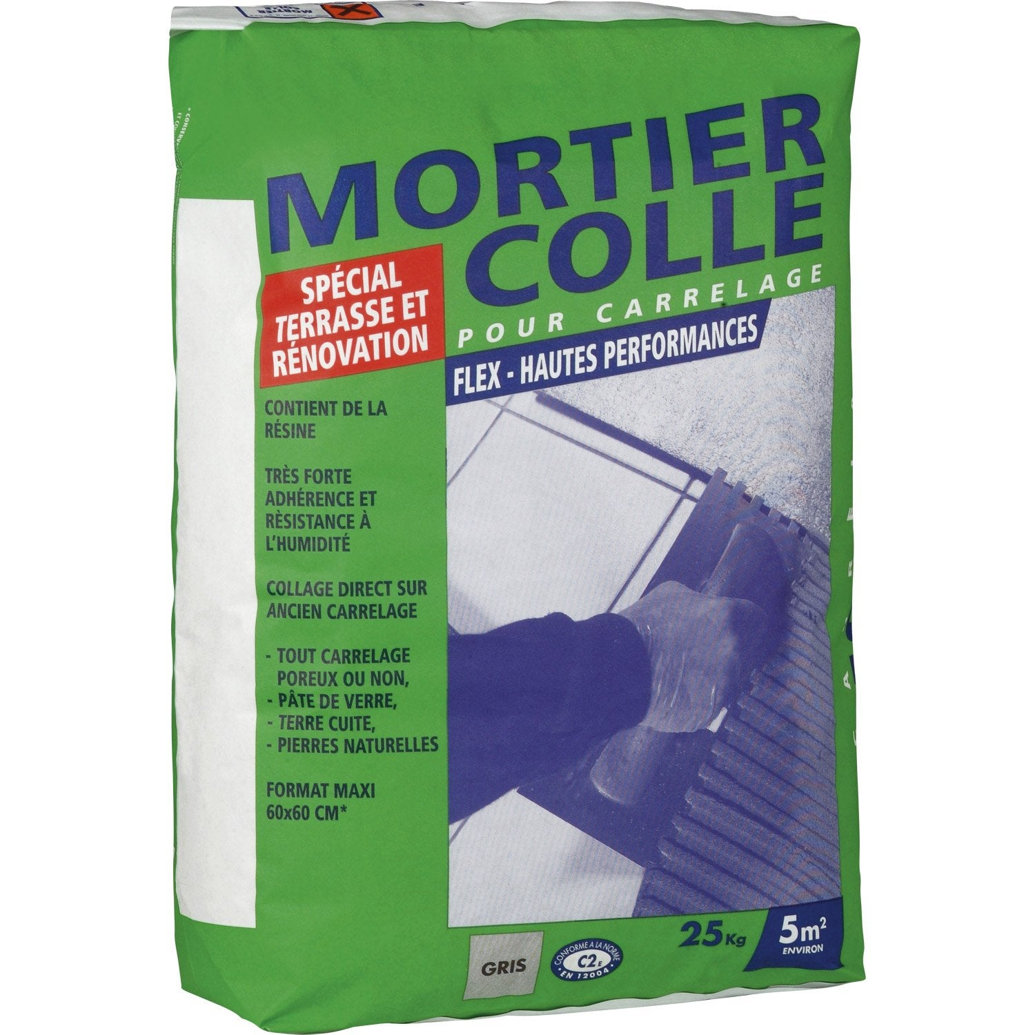 Mortier colle flex gris 25 kg leroy merlin for Ciment colle pour carrelage piscine