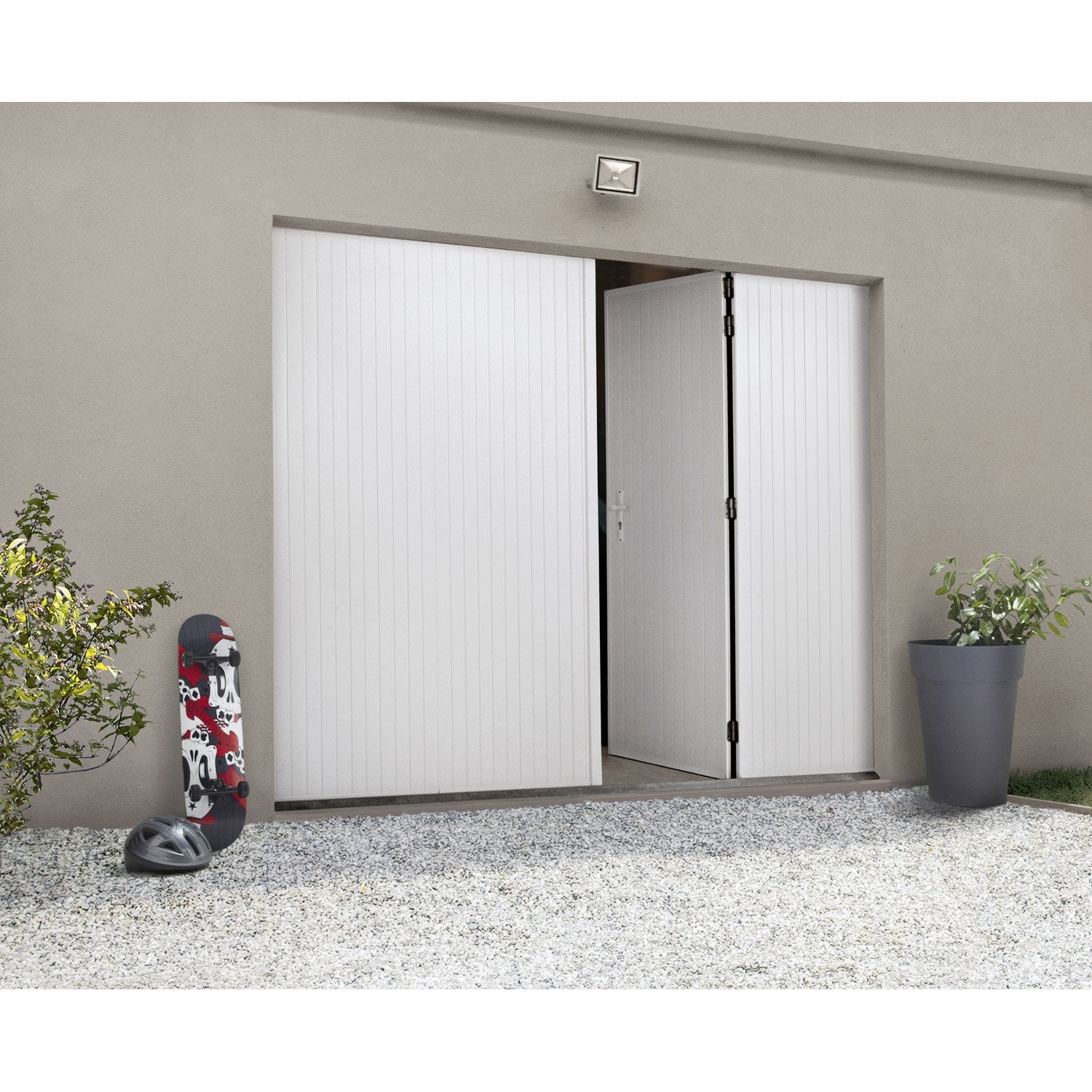 porte de garage la fran aise manuelle artens rainures verticales 200 x 240cm leroy merlin. Black Bedroom Furniture Sets. Home Design Ideas