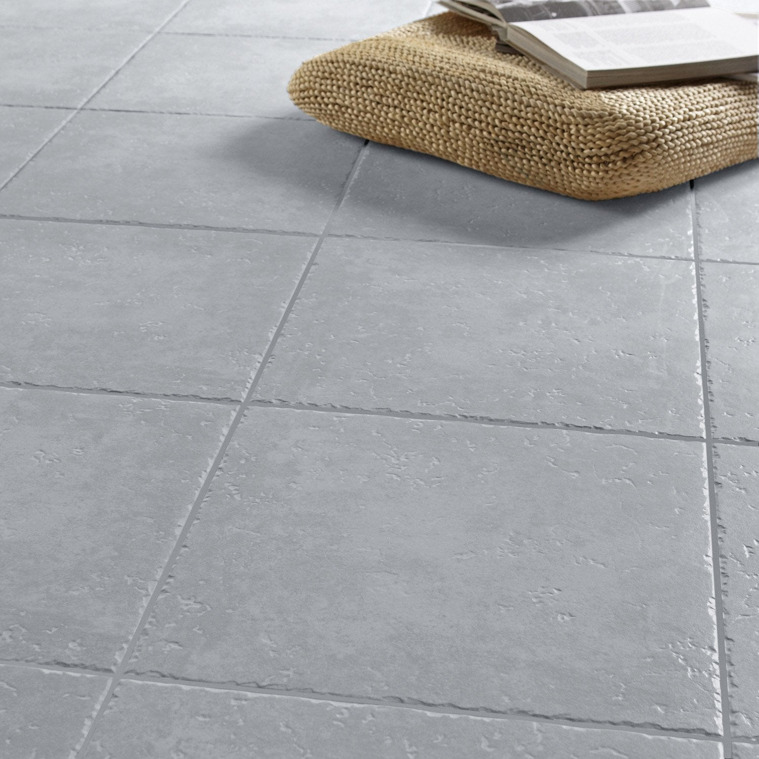 Carrelage sol gris effet pierre michigan x cm for Carrelage ardoise leroy merlin