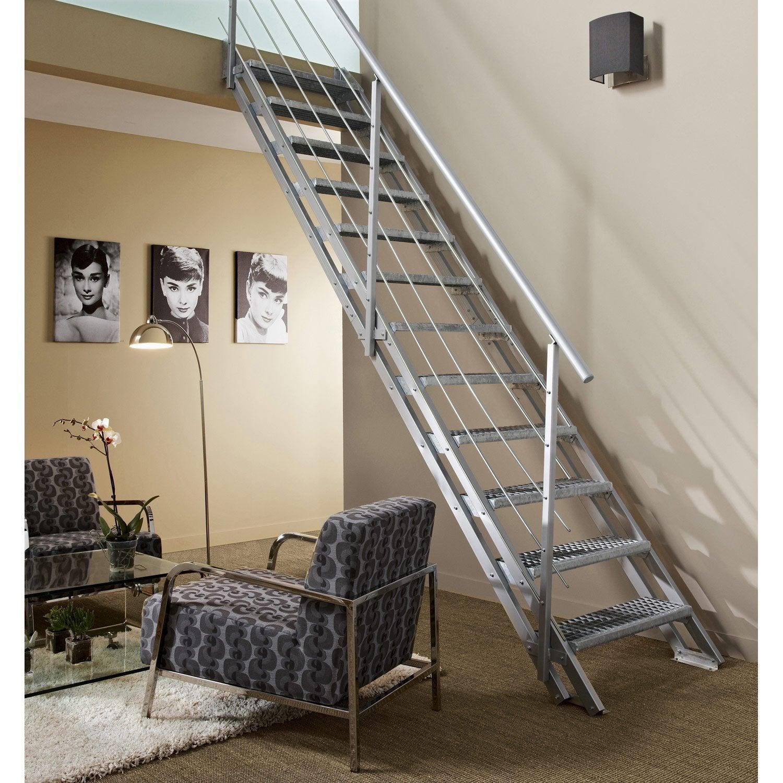Rambarde tube escavario obapi avec main courante en acier for Escalier exterieur acier galvanise prix