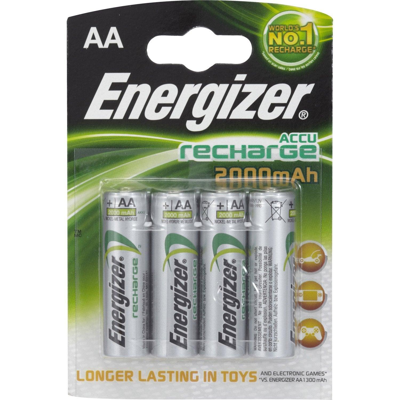 Lot de 4 piles rechargeable lr06 aa 1 5 v 2000 mah - Pile aa rechargeable ...