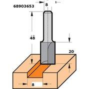 Fraise à rainer HM queue de 8 mm, 2 coupes latérales et coupe frontale D. 8mm